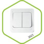 2123-W Выключатель СП 2кл с подсветкой CLASSICO белый ASD (2201) — фото 1