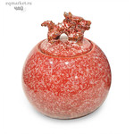 Чайница фарфоровая с драконом, цветная глазурь