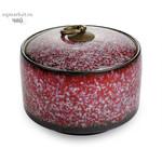 Чайница фарфоровая с кольцом, цветная глазурь