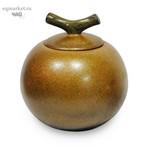 Чайница фарфоровая золотая, цветная глазурь