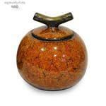 Чайница фарфоровая оранж, цветная глазурь